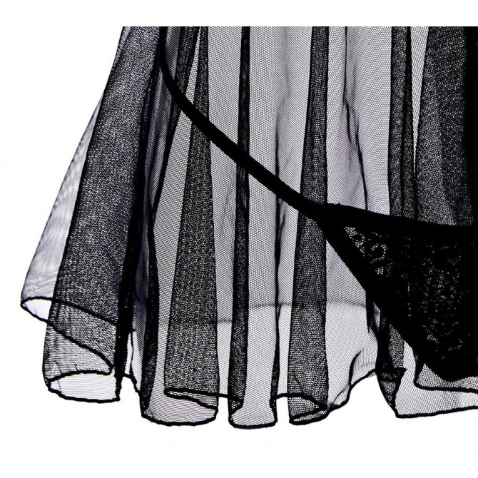 Open cup babydoll lingerie set seductive sheer mesh black
