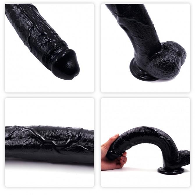 Big black dildo PVC 12 inches curved realistic big dildo